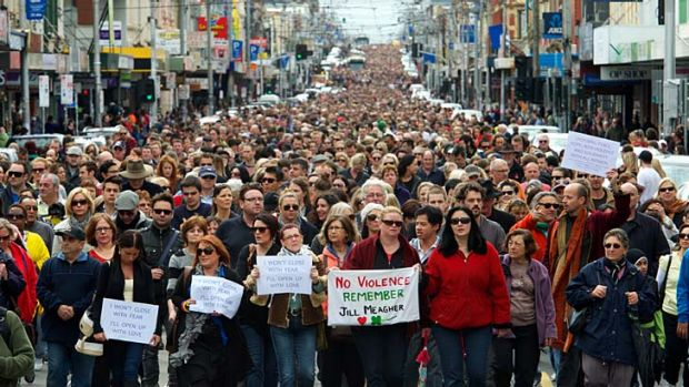 Catalyst ... a line of people more than a kilometre long marched in Sydney Road, Brunswick, yesterday in memory of Jill ...