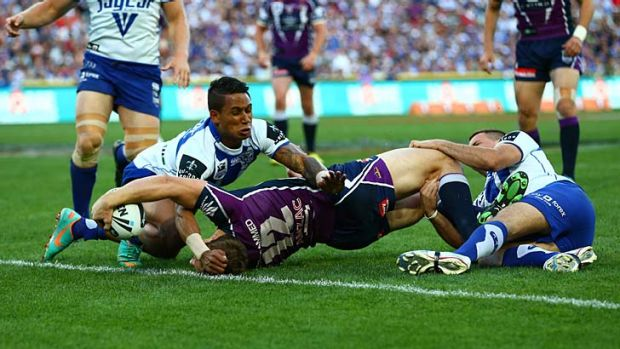 Execution ... the Storm's plan to target the Bulldogs five-eighth Josh Reynolds pays off as early as the seventh minute ...