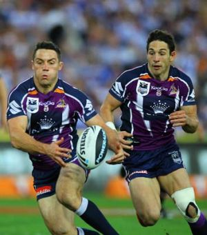 Action man: Storm's Cooper Cronk heads for the line yesterday.