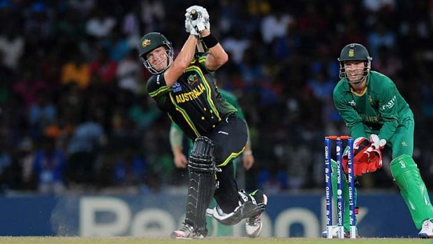 In scintillating form ... Shane Watson in his fourth consecutive man of the match game for Australia.