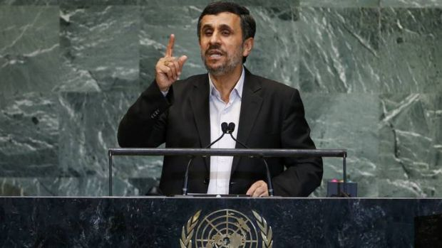 Iran's President Mahmoud Ahmadinejad speaks during the 67th United Nations General Assembly late last month.