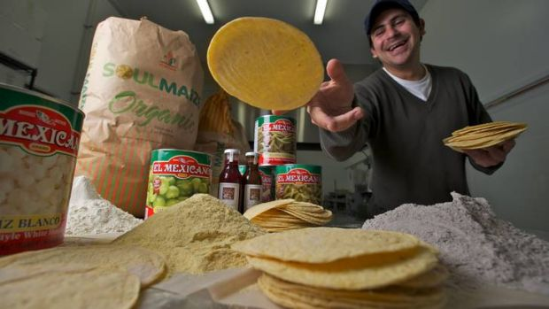 Cesar Duran, whose Port Melbourne business imports masa flour ground from blue, white and yellow corn, is beginning to ...