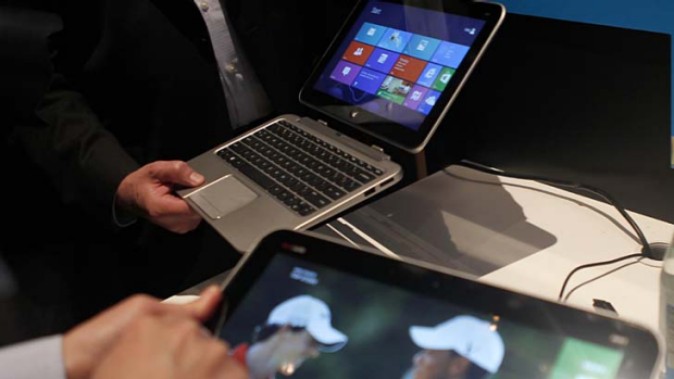 "A Hewlett-Packard tablet that runs on Intel's latest ""Atom"" processor and Windows 8."