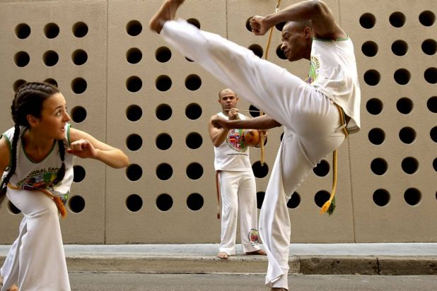 Beams Arts Festival in the streets of Chippendale. Brazilian martial arts performers Leah MacDonald, Charles Dos Santos ...