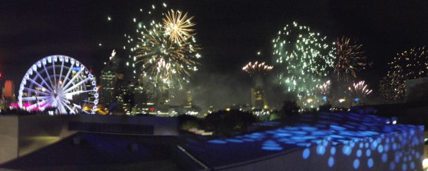 Capturing Riverfire from the Sky Terrace at the Brisbane Convention & Exhibition Centre. Photo: Susan Harris.