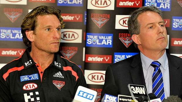 Flying straight: Essendon coach James Hird and chief executive Ian Robson yesterday.