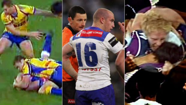 Quick bites ... Brad Morrin bites Timana Tahu in 2007, left, the aftermath of that incident, and James Graham sinks his ...