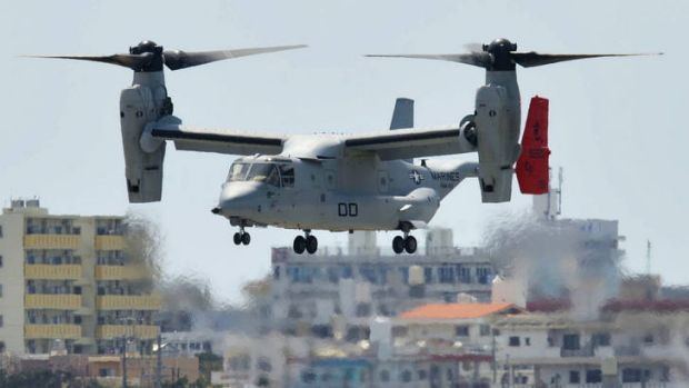 Tilting rotors … the Osprey is able to take off like a helicopter.