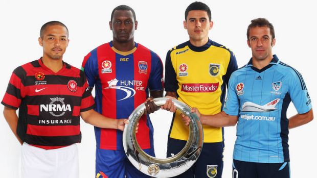 Shinji Ono (Wanderers), Emile Heskey (Jets), Tom Rogic (Mariners) and Alessandro Del Piero (Sydney FC) hold the A-League ...