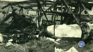 The wreckage of a Dragon plane in the 1950s