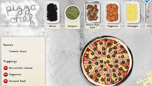 Pizza Chef on the Domino's HD iPad app.