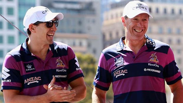 Celebrations ... star player Billy Slater and coach Craig Bellamy at a civic reception for the Storm in Melbourne.