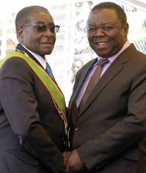 Power players … Zimbabwe's President Robert Mugabe, at left, and Prime Minister Morgan Tsvangirai at Independence Day ...