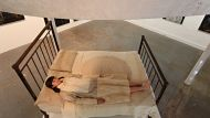 "Lottie Consalvo with her bed installation ""the life exchange at the Damien Minton Gallery.