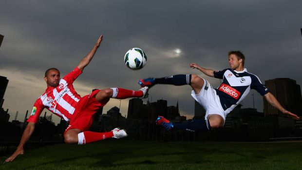 Fred of the Melbourne Heart and Adrian Leijer of the Melbourne Victory.