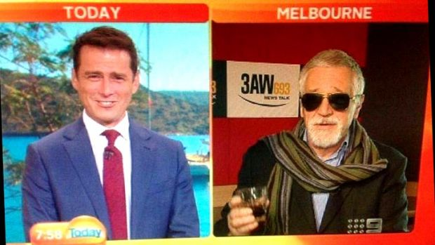 Neil Mitchell (right) does his best John Laws impersonation as he speaks to Karl Stefanovic on the Today Show.