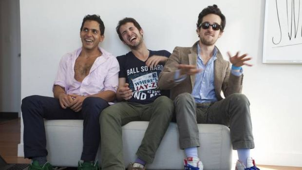 The founders of the website Rap Genius (L to R) Mahbod Moghadam, Ilan Zechory and Tom Lehman pose in this handout photo ...