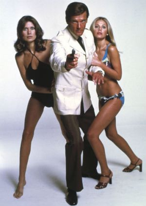 Shaken, not stirred ... Roger Moore as James Bond in a scene from the 1974 movie <i>The Man with the Golden Gun</i>, ...