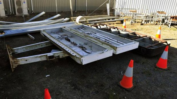 The Iconic sign from the Starlight Drive-In remains in the TAMS depot in Fyshwick in a poor condition.
