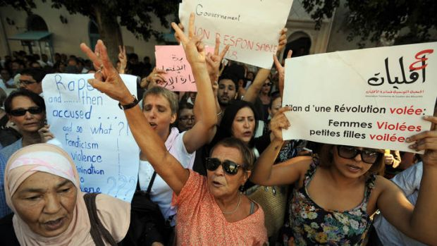 Need to know where they stand ... women protest in Tunis.
