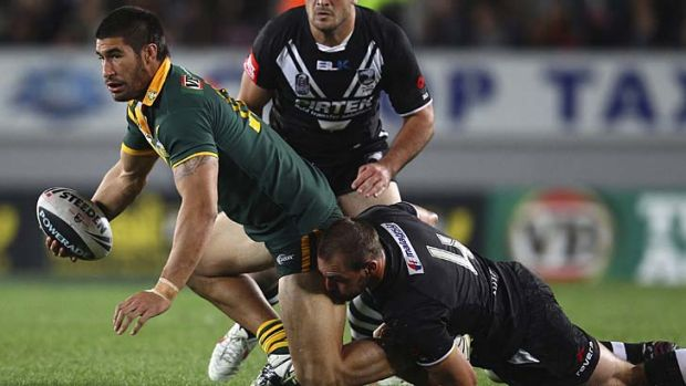 The Kiwis' enemy No.1 ... James Tamou is tackled by Simon Mannering during April's Anzac Test at Eden Park. The New ...