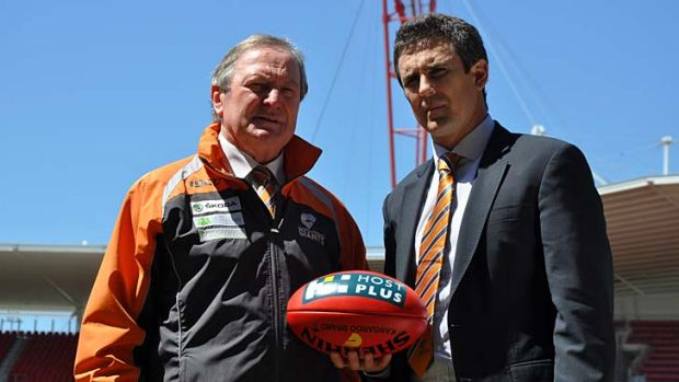 Sherrin some advice ... Kevin Sheedy and Leon Cameron chat after yesterday's announcement that the pair will team up at ...