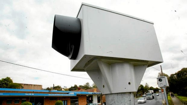 A red light and speed camera on the corner of Harp and Burke roads in Kew.