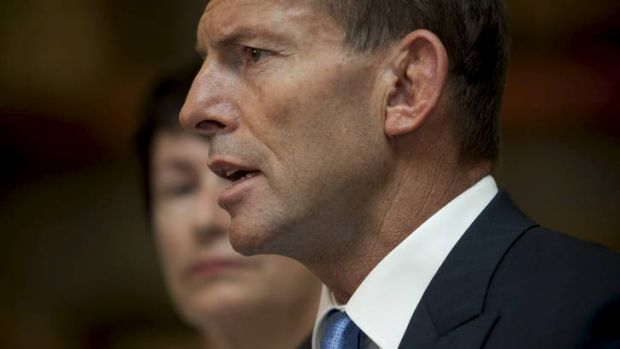 Stepping out of the background ... Tony Abbott and his wife, Margie.