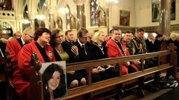 Local dignitaries and relatives seen during a Memorial Service for murdered journalist Jill Meagher at St. Peter's ...