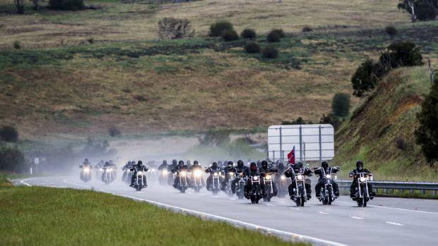 Rebels on the Federal Highway on their way to Canberra on Saturday as part of their annual national run.