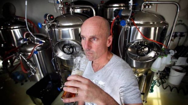 Surgeon Robin Brown's micro-brewery resembles an operating theatre.
