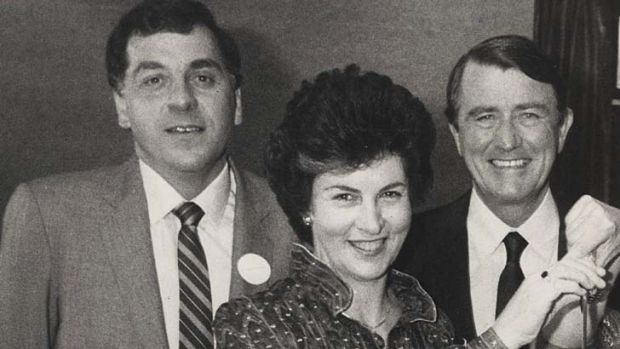 Then and now … Andrew Kalajzich with his wife, Megan, and premier Neville Wran in the 1980s.