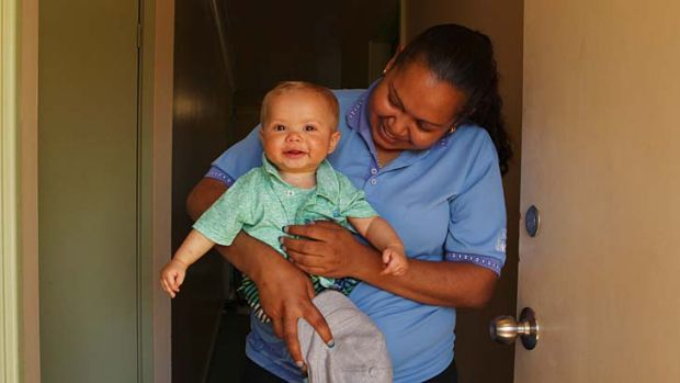 ''Makes life a lot easier'' ... Kiara Brindle and foster child Tynan have benefited from the program.