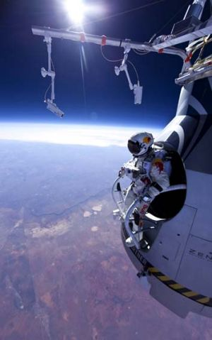 On top of the world … Felix Baumgartner before his 21,800-metre jump for Red Bull Stratos in March.
