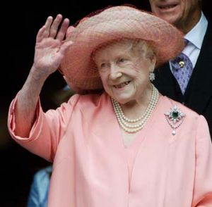 The royal wave ... the Queen Mother acknowledges wellwishers in 2000.