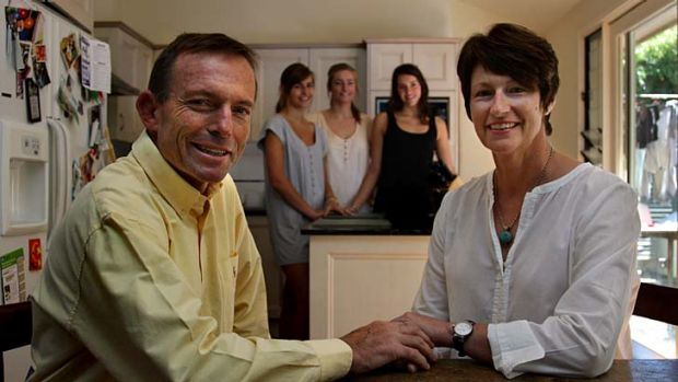 Federal opposition leader Tony Abbott with his wife Margie Abbott, right, and daughters Frances Abbott, 18, Bridget ...