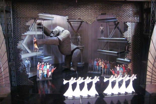 On the mock-up set of 'King Kong'.
