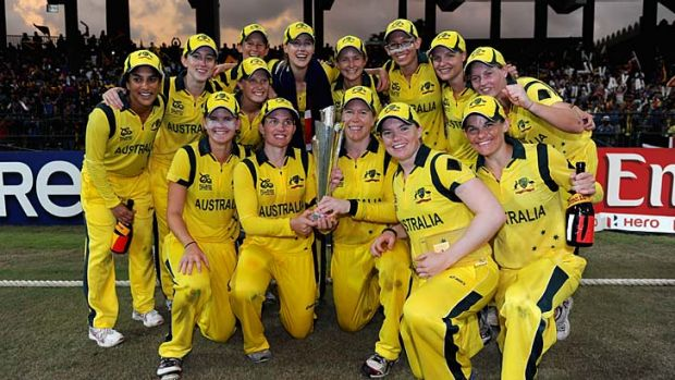 Champions ... Australia celebrate their T20 success.