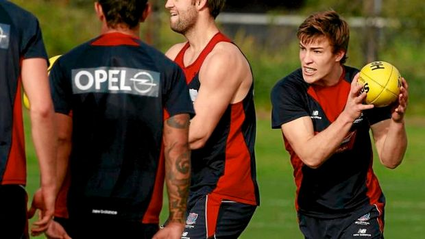 Potential Melbourne father-son draftee Jack Viney (right) trains with the Demons.