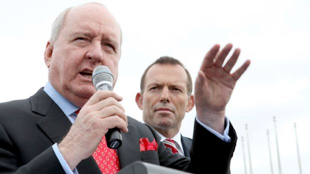 Alan Jones addresses the 'Convoy Of No Confidence' in Canberra last year.