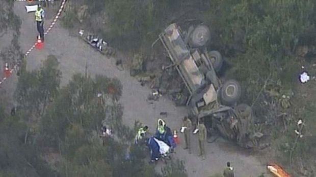 Truck flips ... 17 people have been injured.