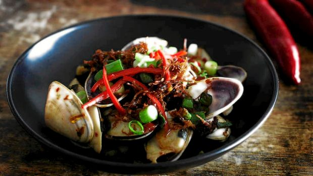 Chefs' late-night go-to dish ... pippies with XO chilli sauce.