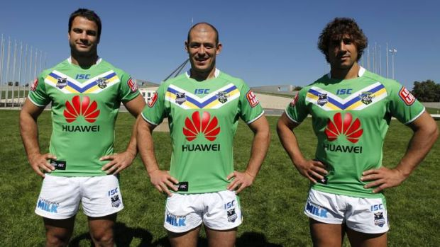 Canberra Raiders players showing off their new Huawei sponsorship jerseys in March, when Huawei signed a $1.7 million, ...