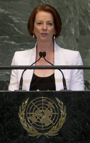 Julia Gillard addressing the United Nations General Assembly at U.N. headquarters in New York  last month.