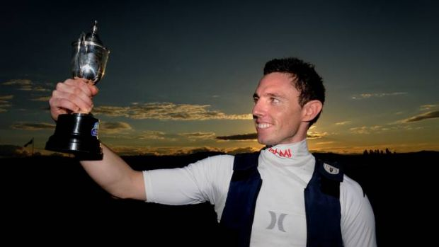 Jockey Peter Wells with 2012's first Queanbeyan Cup in April.