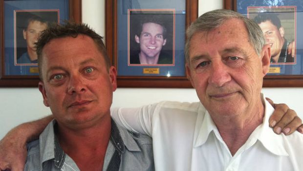 Paul Adams and Kevin Paltridge, whose son Corey, below, was killed in the Bali bombings.