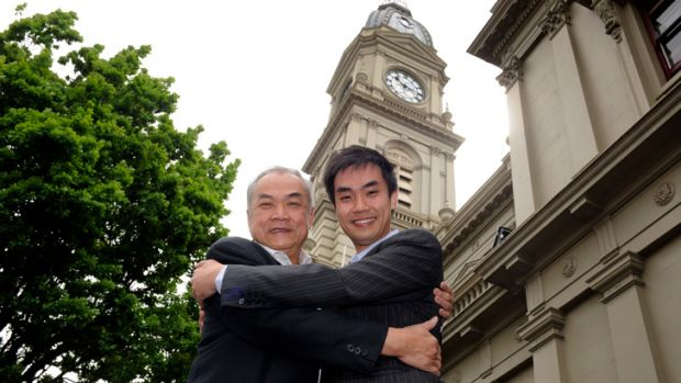 Former lord mayor John So with his son, John. The younger So is up for election.