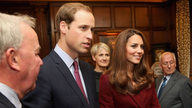 The Duke and Duchess of Cambridge meet scholarship recipients in London.