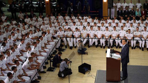 """""""The world will grow darker"""" ... Mitt Romney speaks to cadets at the Virginia Military Institute in Lexington."""