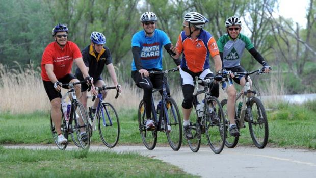 Pedal Power's John Armstrong, second from right, leads the group which includes David Matthews, Alistair Coe , Andrew ...